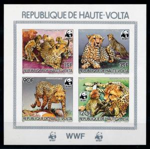 [75673] Upper Volta 1984 Wild Life Cheetah WWF Imperf. Sheet MNH