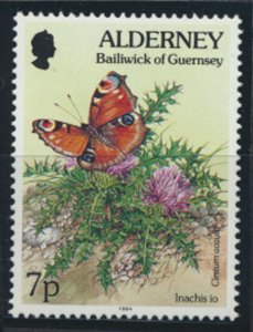 GB Alderney  SG A66 MNH  7p Peacock Butterfly 1994 SC# 76 See scan