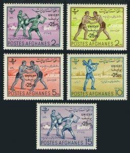 Afghanistan B37-B41,B41a,MNH.Michel 540-544,Bl.10. 1961.Afghan fencing,Wrestlers