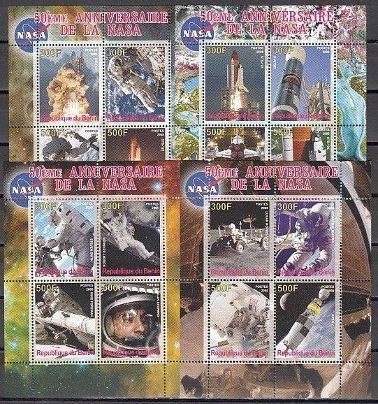 Benin, 2008 Cinderella issue. NASA 50th Anniversary on 4 sheets of 4.