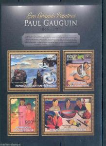 CENTRAL AFRICA 2012  THE GREATEST PAINTERS PAUL GAUGUIN  SHEET NH
