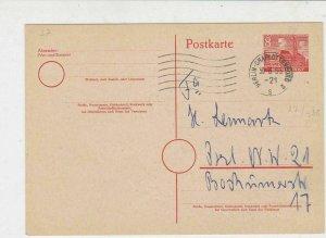 Berlin 1955 Charlottenberg Cancel Stamps Card to Denmark Ref 25882