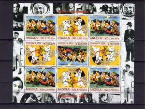 Angola 2000 Disney Characters Sheetlet (9) Tete-Beche MNH VF