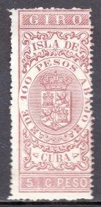 Cuba - 1886 5p Revenue - MH - Short rough perfs at top