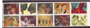 Great Britain Sc 1596-1605 1995 Art  Greetings stamp set mint NH