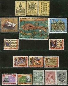 VATICAN Sc#515-530 Five Sets 1972 Year Complete w/o S/S Mint OG NH