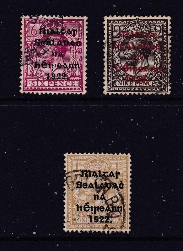 Ireland x 3 used KGV overprinted 1922 (6d,9d & 1/-)