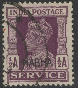 INDIA-NABHA SGO57 1943 ½a PURPLE USED