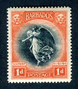 Barbados 1920. Victory. 1d black & vermilion. Mint Hinged. MS CA. SG212.