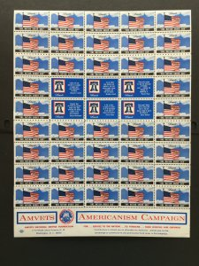 1981 AMVETS Americanism Campaign Labels, Cinderella Stamp Full Sheet