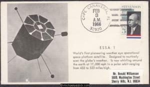 USA 1966 (3 Feb) Space Cover ESSA 1 WEATHER SATELLITE Cape Canaveral FL
