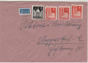 Germany 1950 Solingen Cancels Obligatory Tax Aid for Berlin Stamps Cover Rf27328