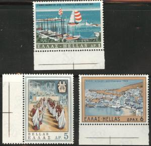 GREECE Scott 942-944 MNH** 1969 tourism stamp set