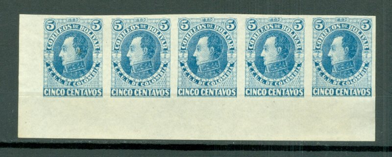 COLOMBIA-BOLIVAR #19a IMPERF. STRIP of 5...NO GUM...UNFOLDED