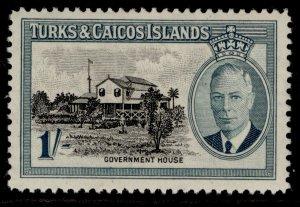 TURKS & CAICOS ISLANDS GVI SG229, 1s black & blue-green, M MINT.