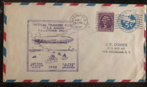 1932 Lake Hurst USA Cover USS Akron Zeppelin Training Flight Mail Carrying
