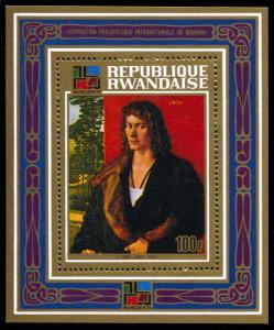 Rwanda 531, MNH, Durer Painting Souvenir Sheet
