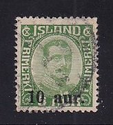 Iceland    #139  used   1922  Christian X  10a on 5a   surcharge