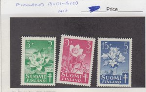 J25880 jlstamps 1950  finland set mnh #b101-3 flowers, all checked