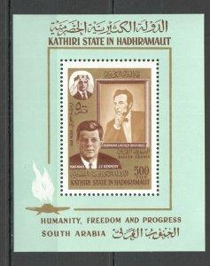 NW0205 1967 SOUTH ARABIA KENNEDY USA PRESIDENT AIRMAIL MICHEL 12 EURO BL14A MNH