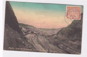SOUTH END OF CULEBRA CUT , MAKING OF PANAMA CANAL STAMPED POST CARD   R 2148
