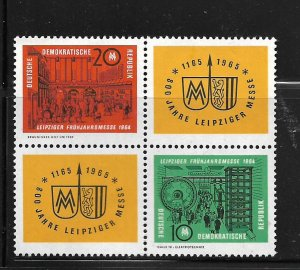 DDR, 692A, MINT HINGED,BLOCK OF 4, LEIPZIG SPRING FAIR