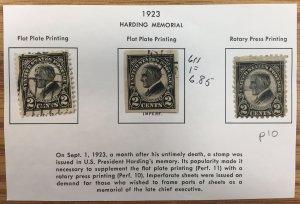 US #610, 611, 612 Used Set - Harding Memorial Black 2c Hinged on paper