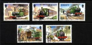 Jersey Sc 361-5 1985 Trains stamp set used