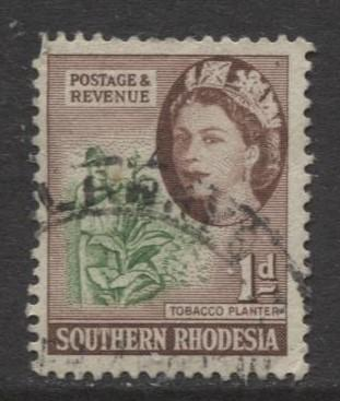Southern Rhodesia- Scott 82 - QEII Definitives - 1953 - Used - Single 1d Stamp
