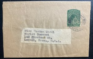 1955 Kingston Jamaica Postal Stationery Wrapper Cover To Lowell MA USA
