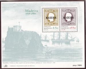 PORTUGAL MADEIRA Scott 67a MH* 1980 stamp on stamp souvenir sheet