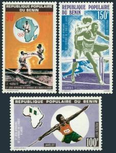 Benin 376-378,MNH.Mi 100-102. African Games,1977.Javelin,Karate,Hurdles,Map.