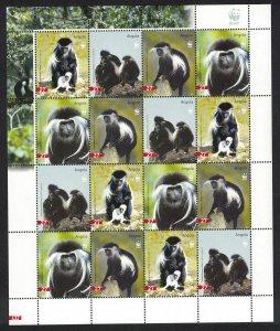 Angola WWF Black-and-white Colobus Sheetlet of 4 sets SG#1717-1720 MI#1745-1748