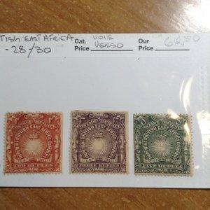 British East Africa  # 27-28/30  MH
