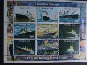 GUINEA -STAMP 1998 TITANIC - MNH STAMP SHEET- RARE- REMEMBER ALWAYS: