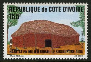 Ivory Coast 876, MI 996, MNH. Rural Habitat. Hut, Sirikukube Dida, 1989