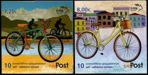 HERRICKSTAMP GREECE Sc.# 2640a,2641a Bicycles Self-Adh. Booklets
