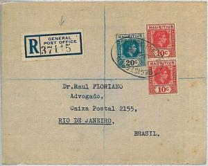 POSTAL HISTORY registered cover  - MAURITIUS 1947: GENERAL POST OFFICE - BRAZIL