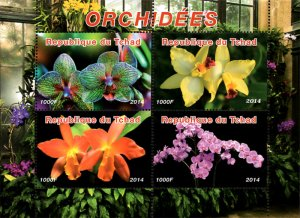 Chad 2014 Orchid Flowers 4v Mint S/S. (#48)