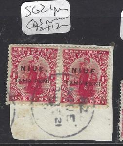 NIUE    (P0310B)  SG 21   1D   PR ON PIECE  CDS  VFU