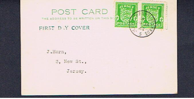 JERSEY PAIR 1/2d BRIGHT GREEN ON FDC
