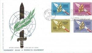 United Nations NY 234-5, Geneva 30-1 Disarmament FDC WFUNA Cachet