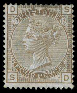 SG154, SCARCE 4d grey-brown PLATE 17, M MINT. Cat £2800. SD