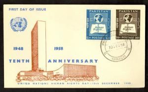 PAKISTAN 1958 HUMAN RIGHTS DAY Set Scott 99-100 on Cachet U/A FDC