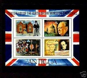 ANTIGUA - 1974 - SIR WINSTON CHURCHILL - ST PAUL - BOER - MINT - MNH S/SHEET!