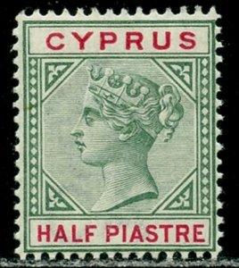 CYPRUS Sc#28 1894 ½pi green & carmine rose OG Mint VLH