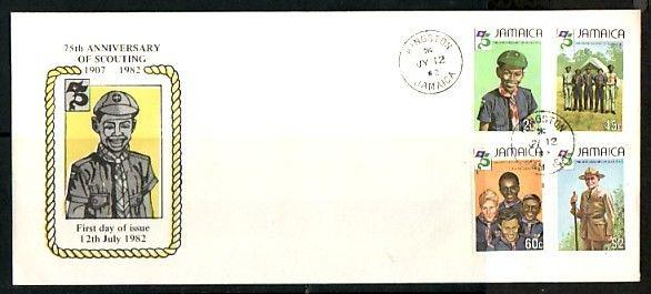Jamaica, Scott cat. 528-531. 75th Scout Anniversary. Long First day cover. ^