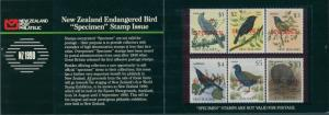 New Zealand 1983 SG1292-1297 Birds specimen set MNH