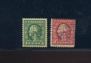 Scott #405 & 406 Var PRR Canal Zone Official 'P' PERFIN Precursor RARE Stamps