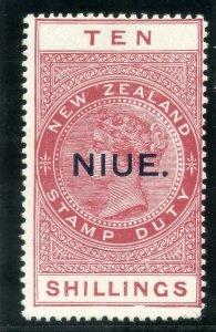 Niue 1927 QV Postal Fiscal 10s brown-red MLH. SG 37b.